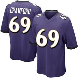 Nike Aaron Crawford Baltimore Ravens Youth Game Purple Team Color Jersey