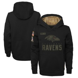 Nike Baltimore Ravens Youth Black 2020 Salute to Service Pullover Performance Hoodie